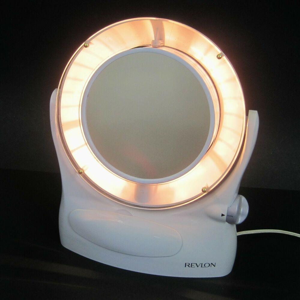 Vtg Lighted Makeup Mirror Revlon 3 Light Settings 2 Sided