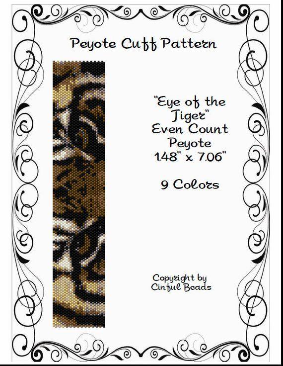 Peyote Bracelet Pattern, Animal Print, Tiger Eyes using Miyuki 11/0 ...