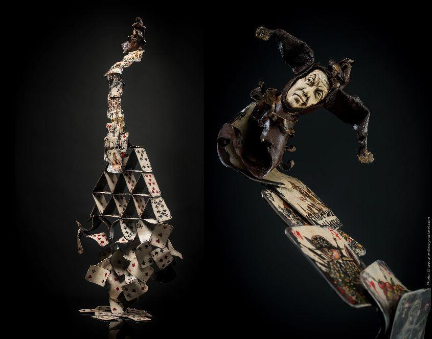 Les Frasques du Fretin; Luth fer et bois (grenadier); L38cm x H101cm - peinture bois et fer