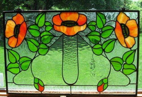 "Art Nouveau Inspired California Poppy By Mason Larose: Stained Glass ""Kelling Heath"" Art Nouveau Poppies Panel"