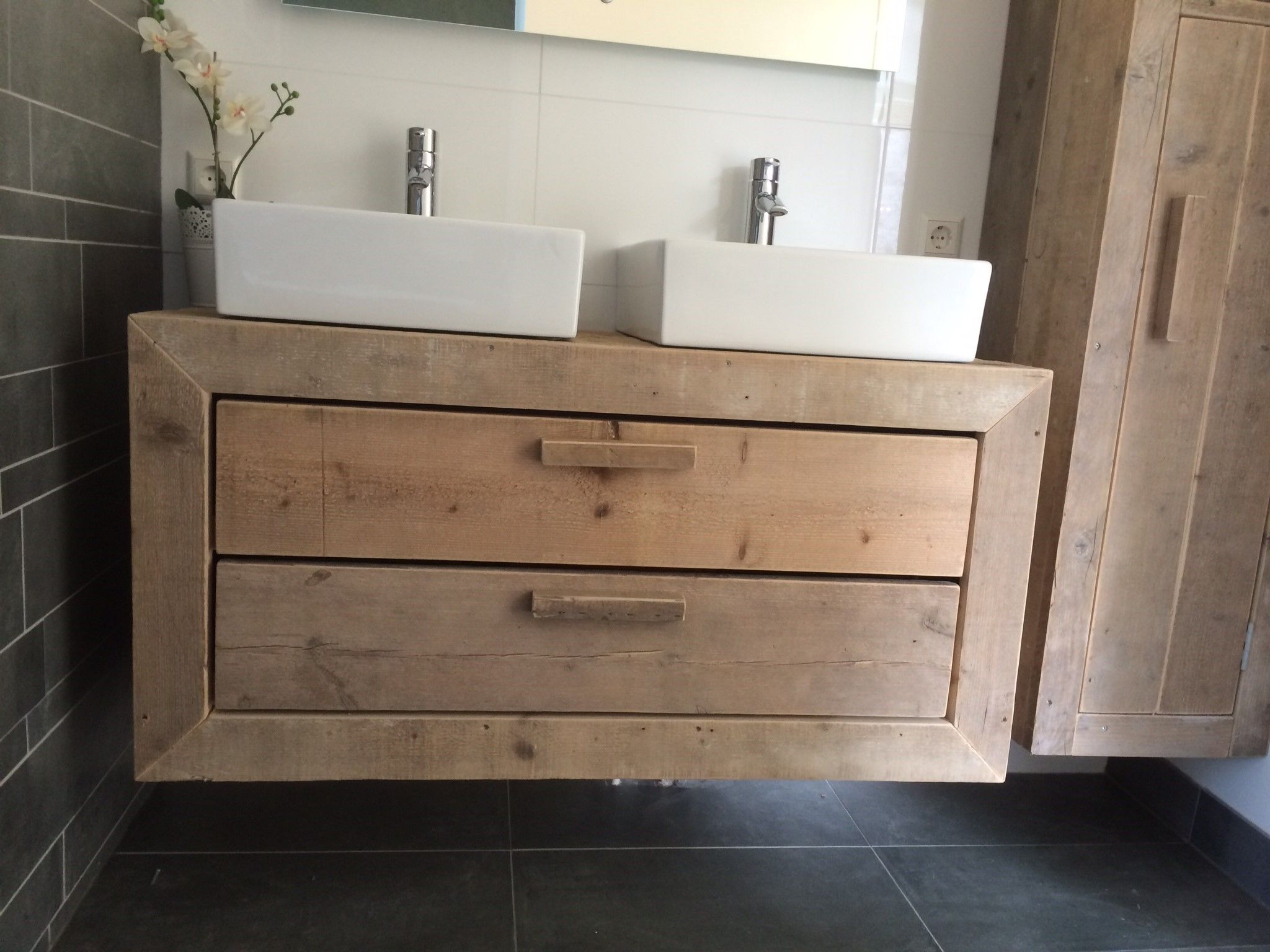 badkamermeubel ombouwen met steigerhout  Google zoeken  Huisideeën  Pinter # Wasbak Diep_205925