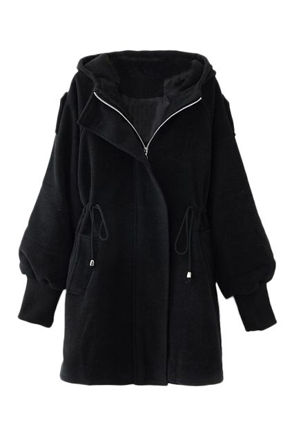 Love the Sleeve Design and the Side Ties! Cozy ROMWE | Black Drawstring Hoodied Coat, The Latest Street Fashion #Cozy #Black #Hooded #Fall #Coat #Fashion