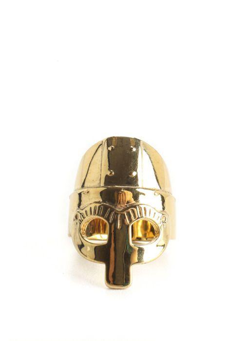 NEW AURELIE BIDERMANN Gold Vermeil Medieval Amor Helmet Band Ring Sz 6$1520 #AurelieBidermann #Band