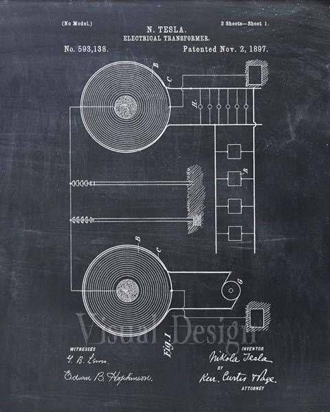Patent Print - Tesla Electrical Transformer - Tesla Wall Art - Tesla ...