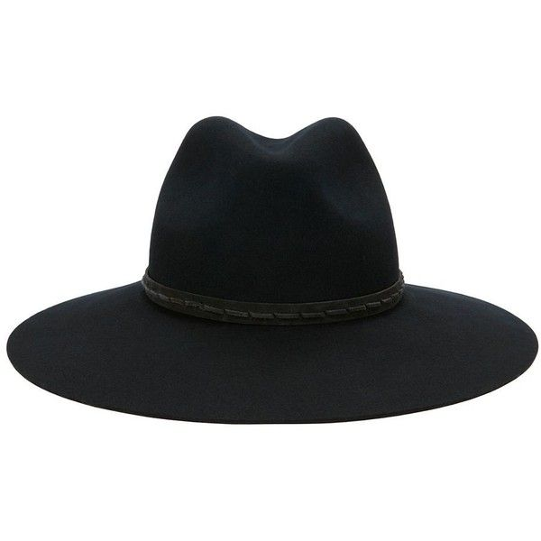 Rag & Bone Women's Wide Brim Hat ($169) ❤ liked on Polyvore featuring accessories, hats, black, brimmed hat, wool brim hat, wool hat, woolen hat and rag bone hat