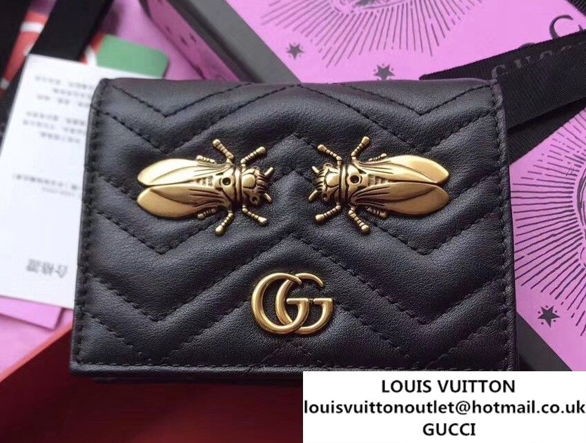 Gucci GG Marmont Metal Animal Insects Studs Card Case