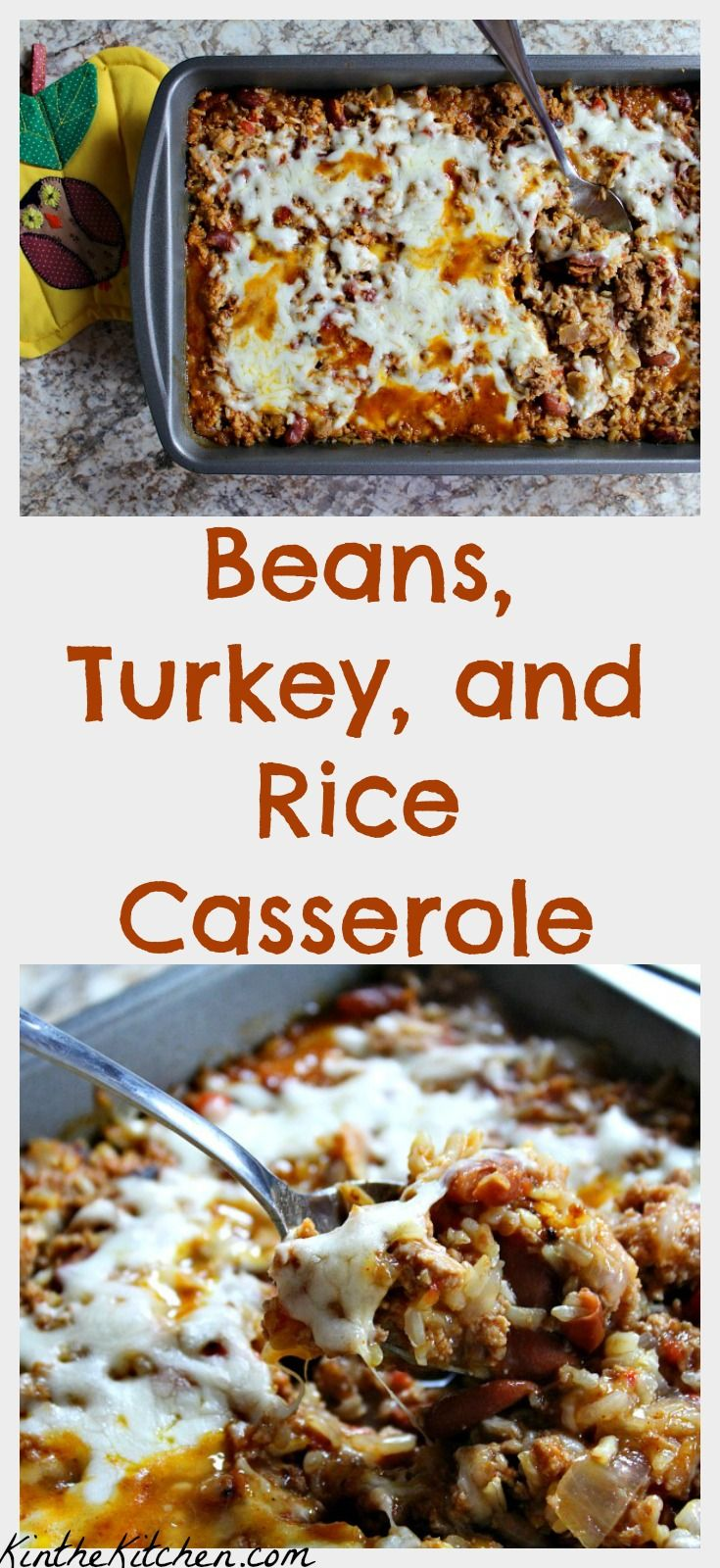 Simple, healthy, delicious, and economical – beans, ground turkey, brown rice, and tomatoes are cooked with seasonings and baked with a light sprinkle of mozzarella cheese.
