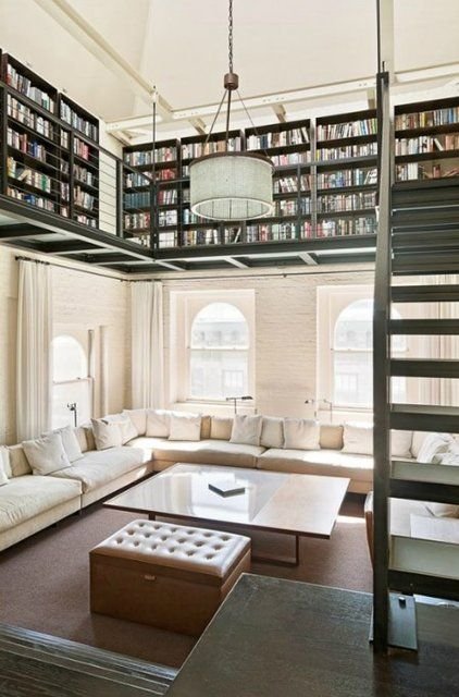 Contemporary Home Library Design: Contemporary, Mezzanine Library