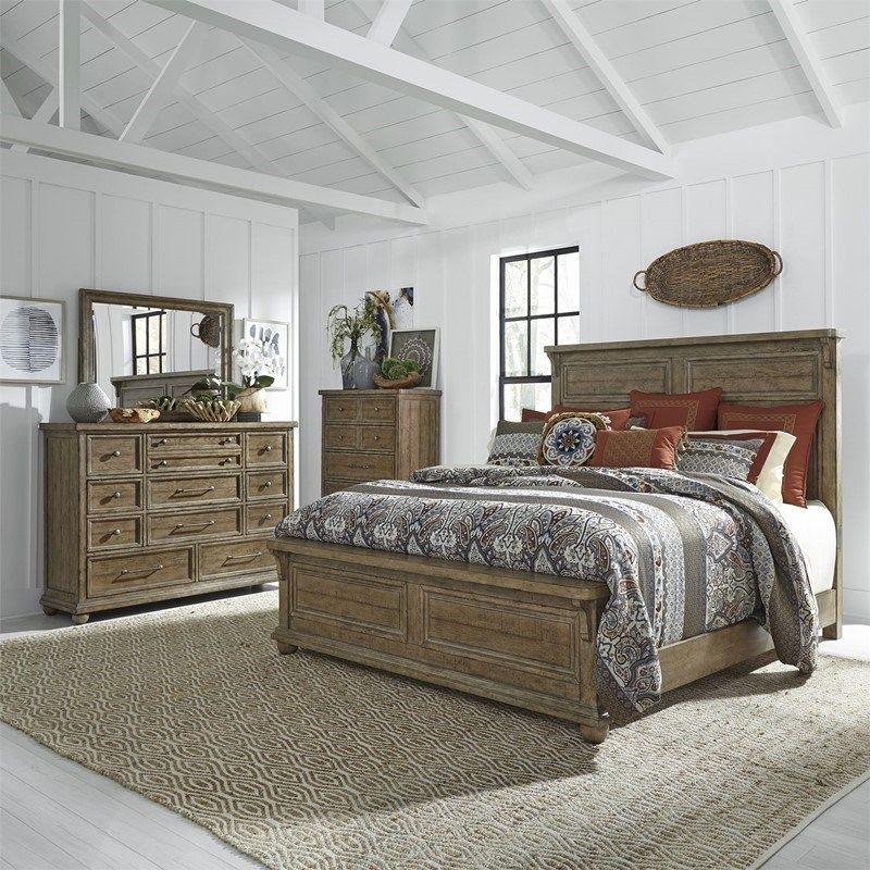 Harvest Home Natural Wood Finish Rustic Bedroom Set Simple Planked Farmhouse Style Queen Or King Si Liberty Furniture Rustic Bedroom Furniture Bedroom Sets