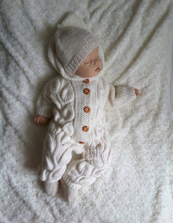 76d6807de6c04 Baby Coming Home outfit Hand knitted baby romper Baby knitted ...