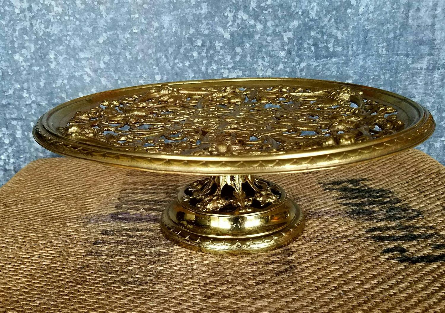 Large brass cakedisplay stand heavy ornate 12 34