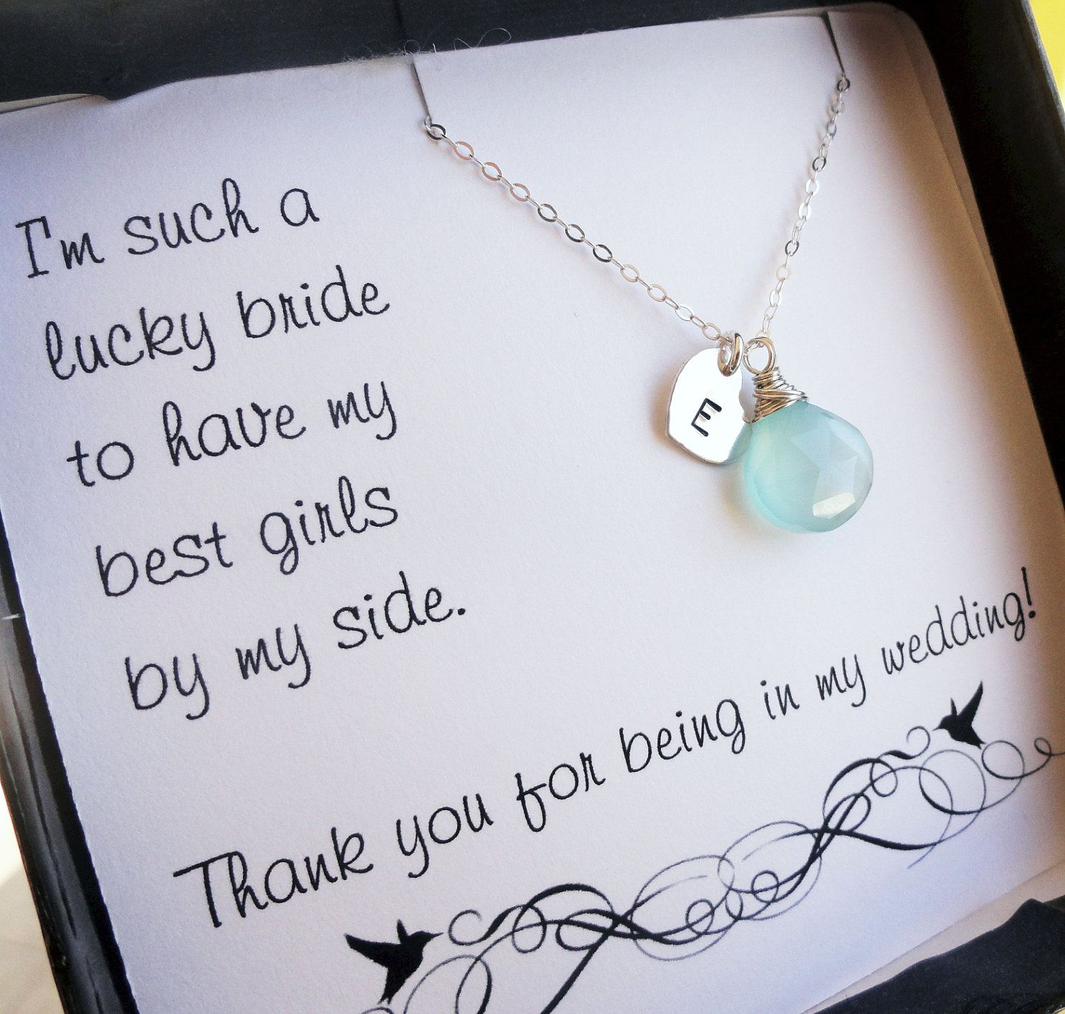 Custom gemstone bridesmaid necklace & message card gift