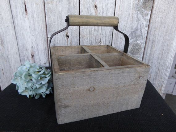 Wood And Metal Home Decor Solid Wooden 4 Compartment Crate Box With Wood Metal Handle