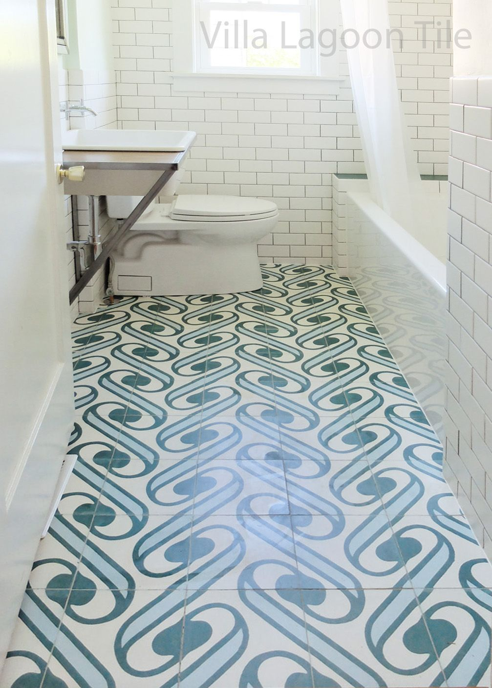 Villa Lagoon Tile S Exclusive Surf Agua Cement Tile Paired With