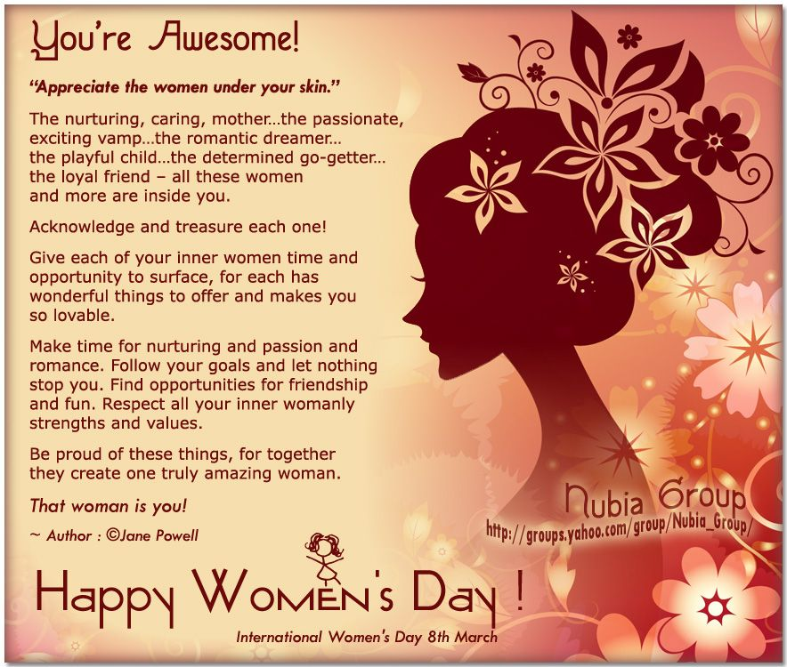 youreawesomehappywomensday.jpg (884×750) Womens day