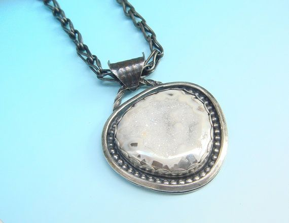 Brazilian White Drusy and Sterling Silver  Necklace