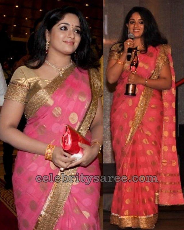 12e826045f150c Kavya Madhavan Tissue Gold Saree   Stuff to Buy   Saree, Pink saree ...