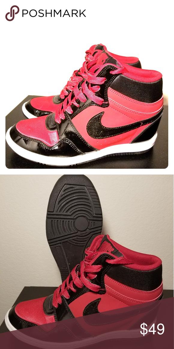 22ea7064d778 Nike High Heel Sneaker Red, black, white high heel sneaker with glitter  Nike swoosh. Ladies Size 8. Nike Shoes Sneakers
