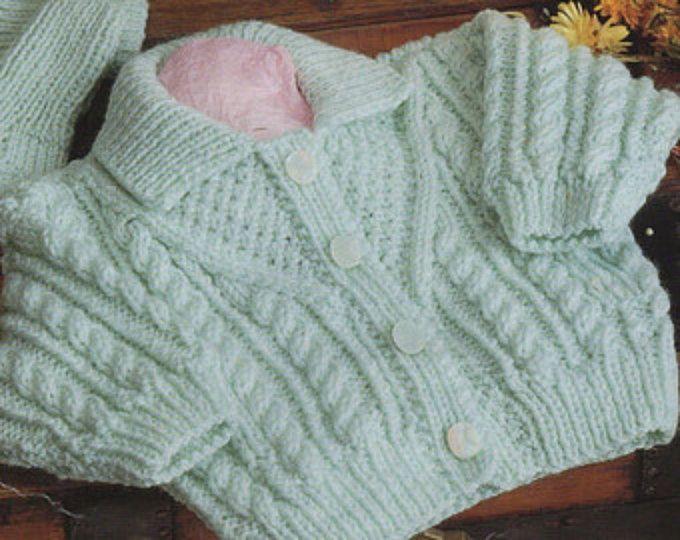 Baby childs childrens aran cardigan aran sweater with hood hat ...