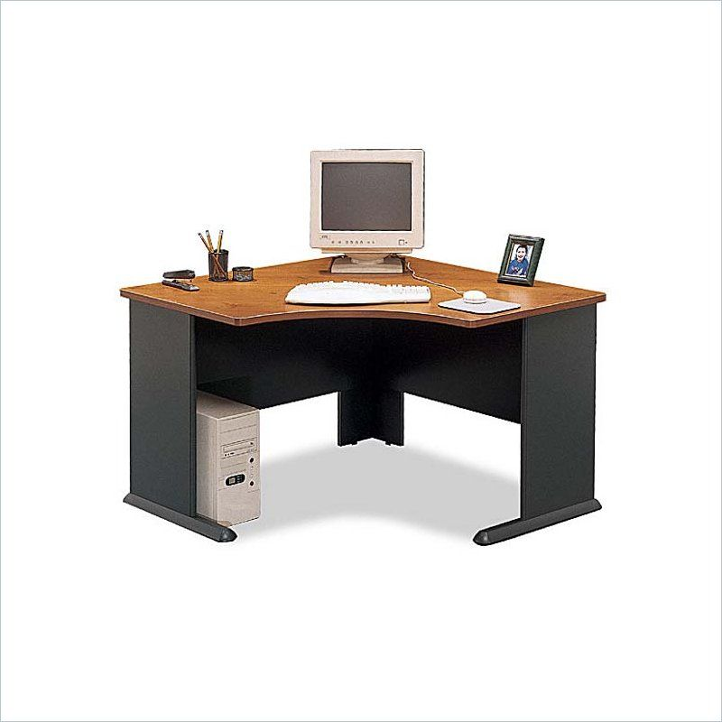 Bush Business Series A 48w Corner Desk In Natural Cherry And Slate