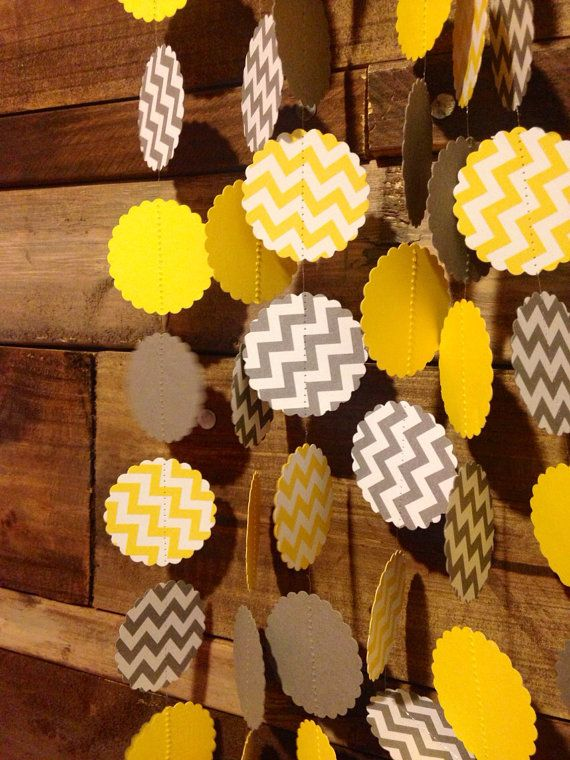 Grey and white chevron and yellow and white chevron paper garland birthday party decor baby - Baby shower chevron decorations ...