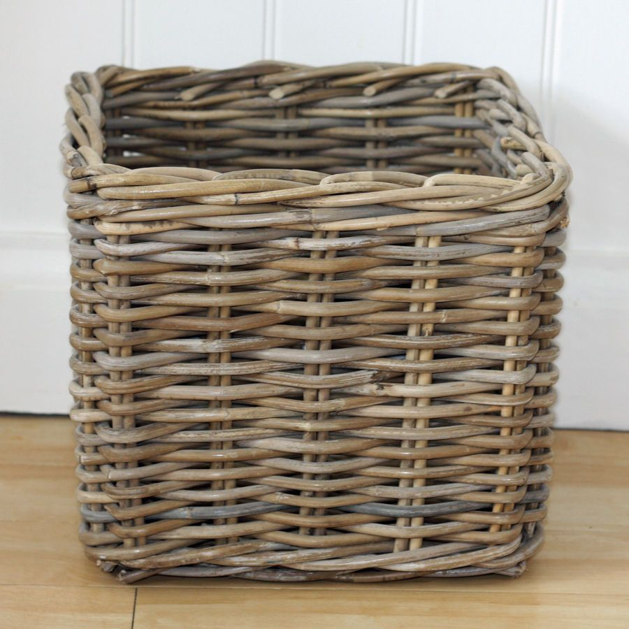 Wicker Basket Storage Cube : Rustic rattan wicker willow cube square toy storage basket