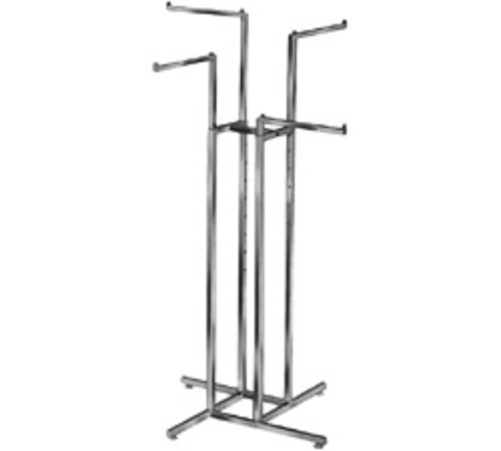 Commercial 4 Way Clothing Garment Retail Display Rack With