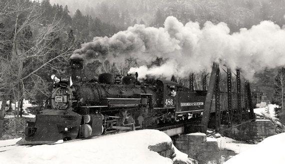 Black and White Train Photo, Durango & Silverton #486 Steam Locomotive, Steam Train Photography, Large Wall Art