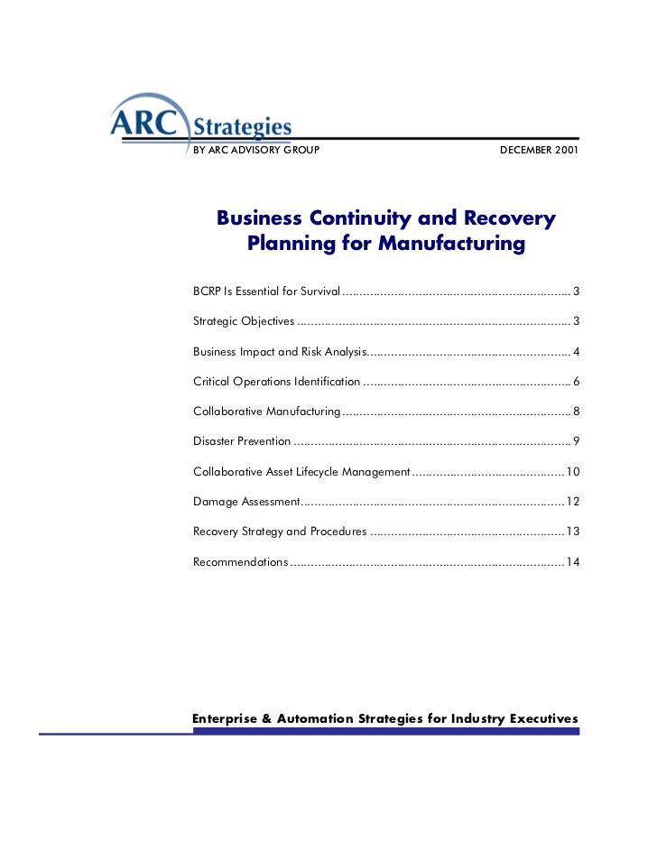 Manufacturing DR and continuity Work-Disaster Recovery - business contingency plan template