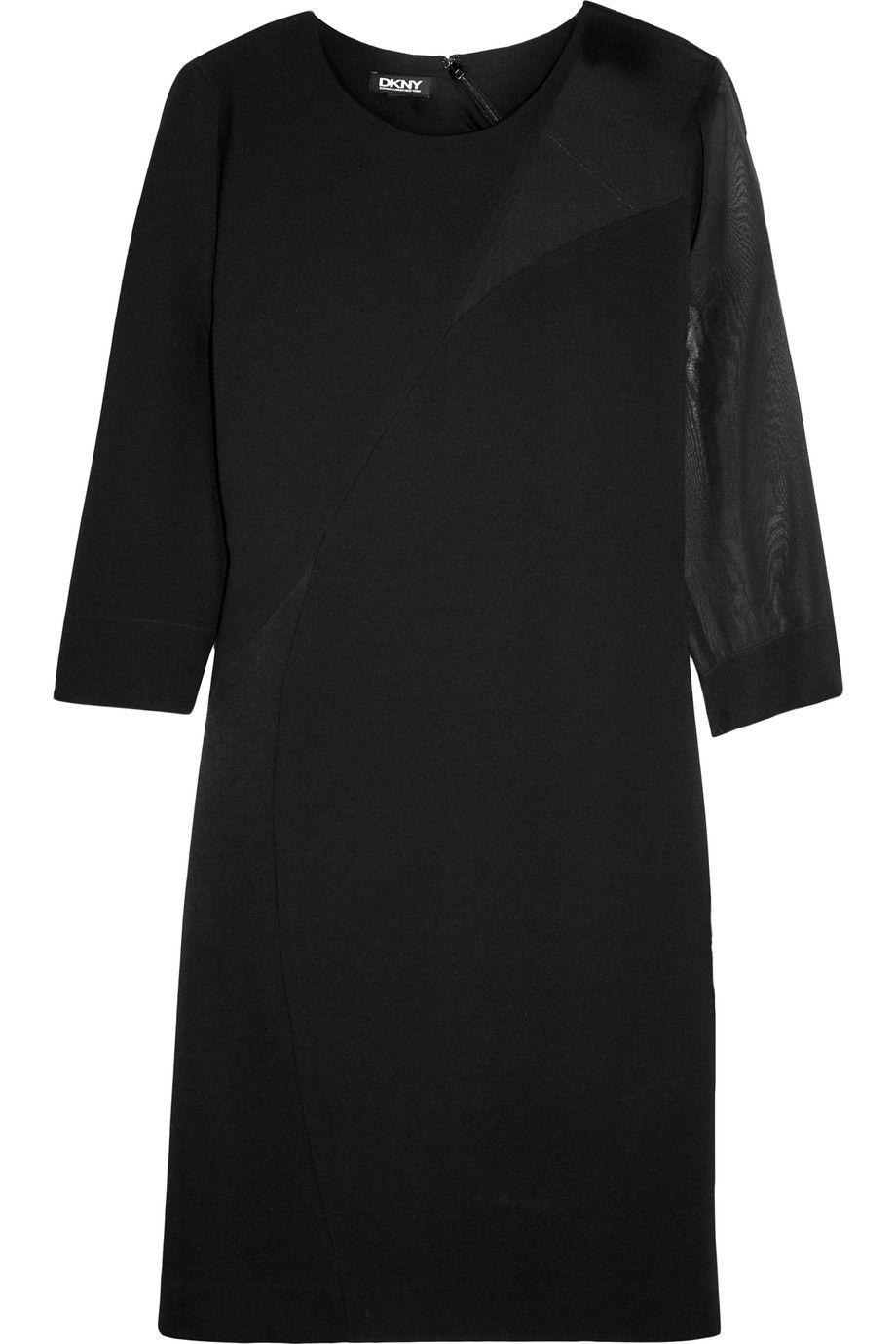 DKNY Chiffon-paneled crepe dress. #dkny #cloth #dress