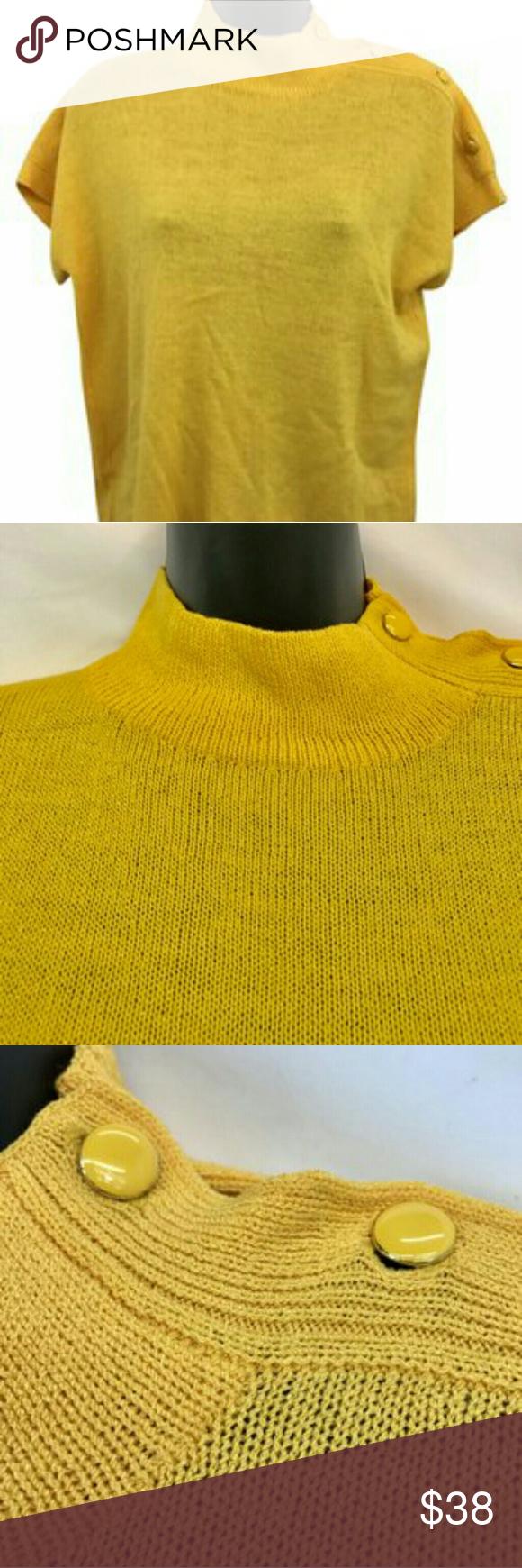 "St. John top St. John Vintage Golden Yellow High Neck Knit Top Blouse L  Made in USA  Chest across 20""  Length 23"" St. John Tops Blouses"