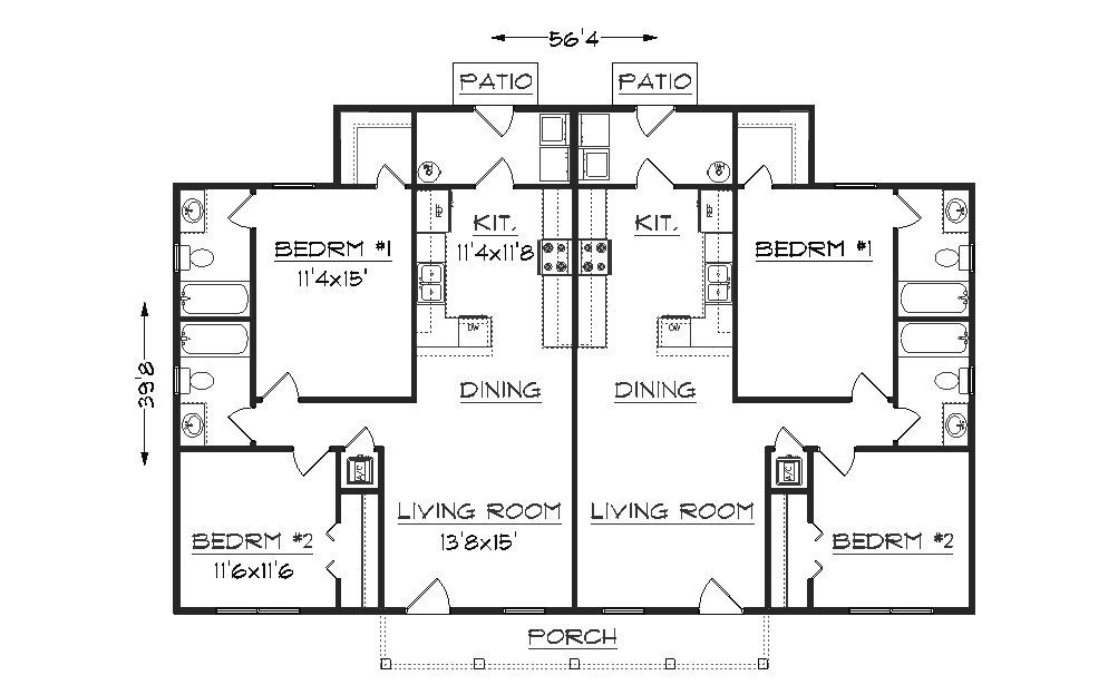 Duplex j942d floor plan rental property ideas Rental house plans