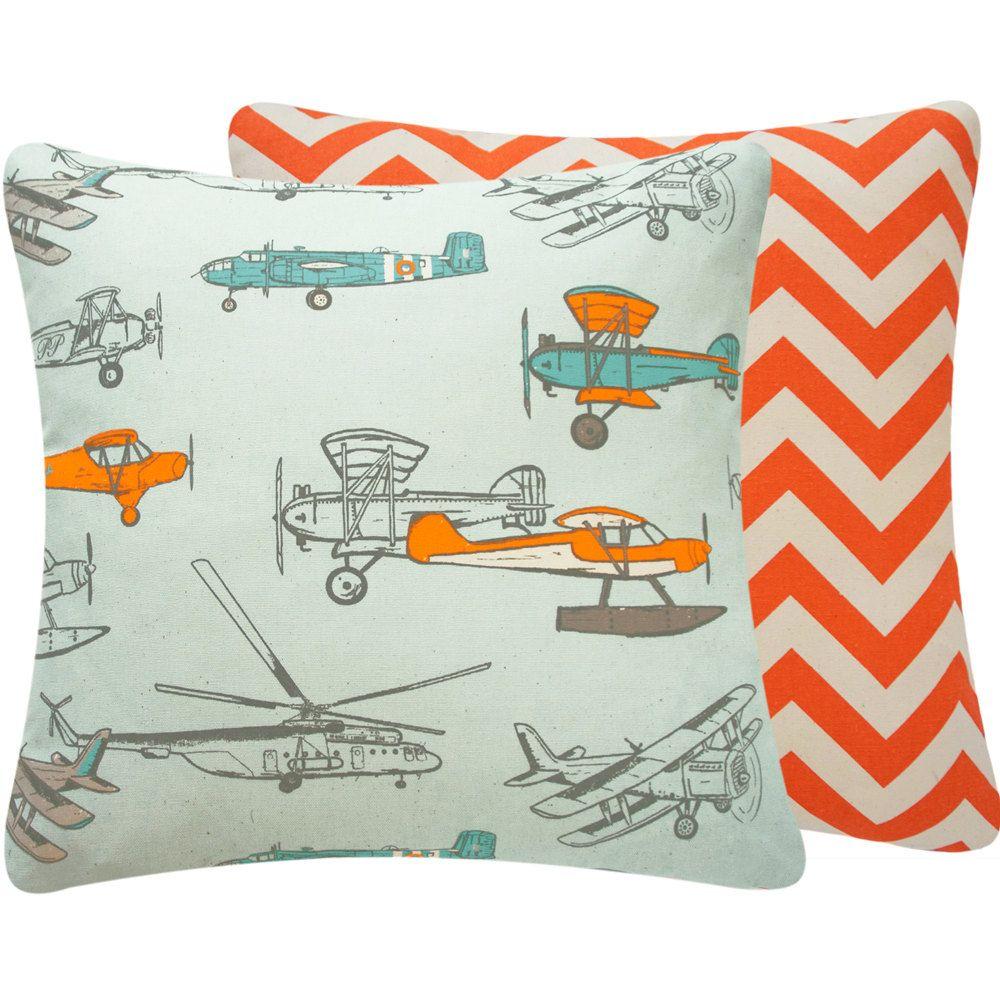 Orange and Blue Airplane Nursery Kid Throw by ChloeandOliveDotCom ...