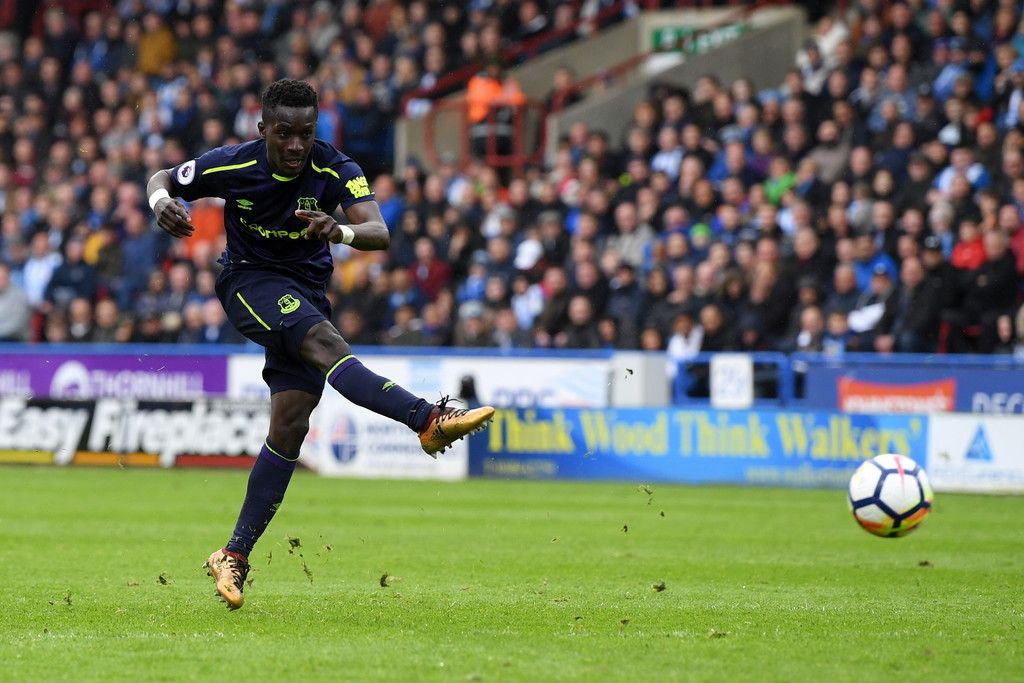 1d006be88 28 April 2018 Gana Gueye v Huddersfield (A) Idrissa Gan Gueye fires home  the second from the edge of the Huddersfield box