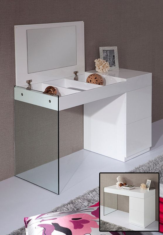 Modrest Volare - Modern White Floating Glass Vanity With Mirror ...