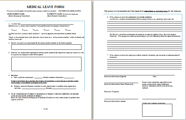 Job leave medical form atbestmedicalformsjob – Leave Form Templates