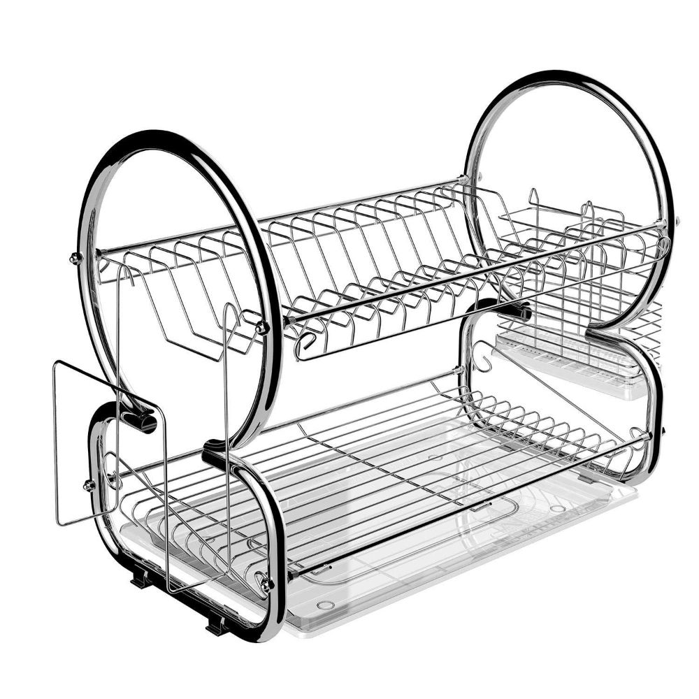 Buy Asatr 2 Tier Dish Rack Holder Set Double Stainless Steel Dish Cup Drying Rack With Plastic Draining Tray Cutlery Dish Racks Dish Rack Drying Dish Drainers