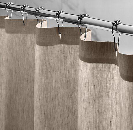 Vintage Washed Belgian Linen Shower Curtain Burlap Shower Curtains
