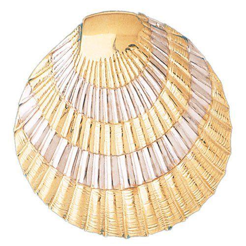 14k Two-Tone Gold Shell Pendant...
