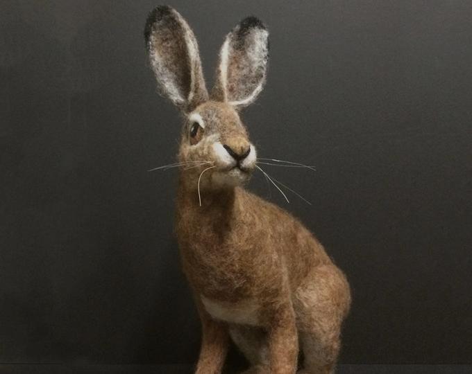 Needle felted animal, Felted rabbit, Needle felted bunny ,Needle felted rabbit, Wool Felt Animals. Jackrabbit. Made to order #needlefeltedbunny