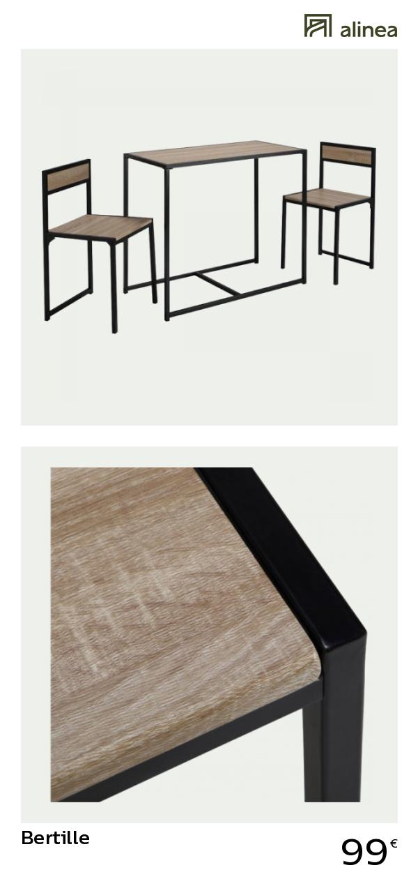 Alinea Bertille Set D Une Table Avec 2 Chaises 2 Convives Meubles Salle A Manger Et Cuisine Tables Fixes Meuble Salle A Manger Meuble Deco Table Basse