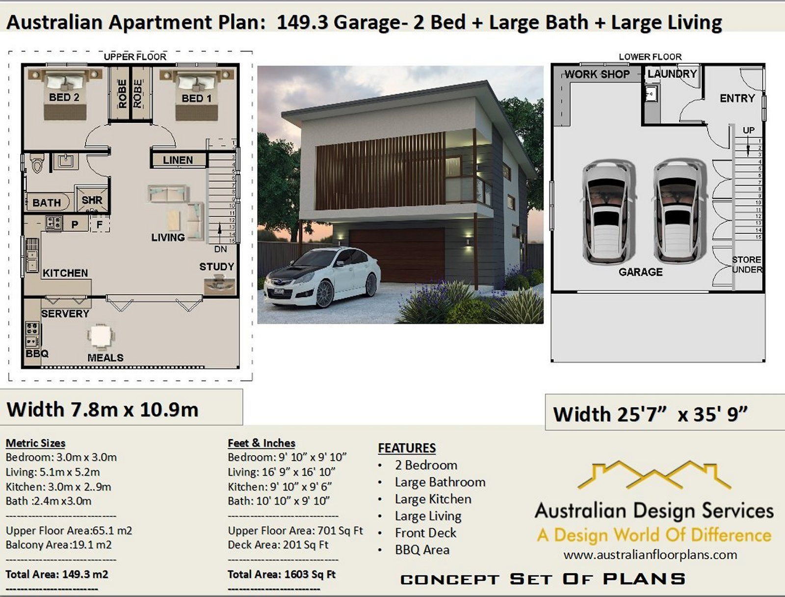 2 bed  study garage apartment house plan1493