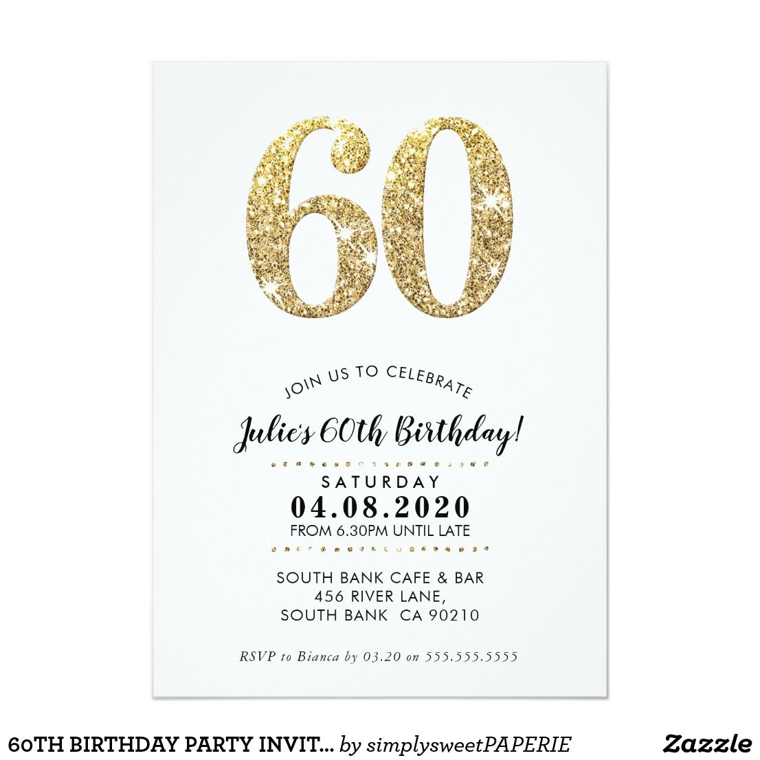 60TH BIRTHDAY PARTY INVITE modern gold glitter | Pinterest