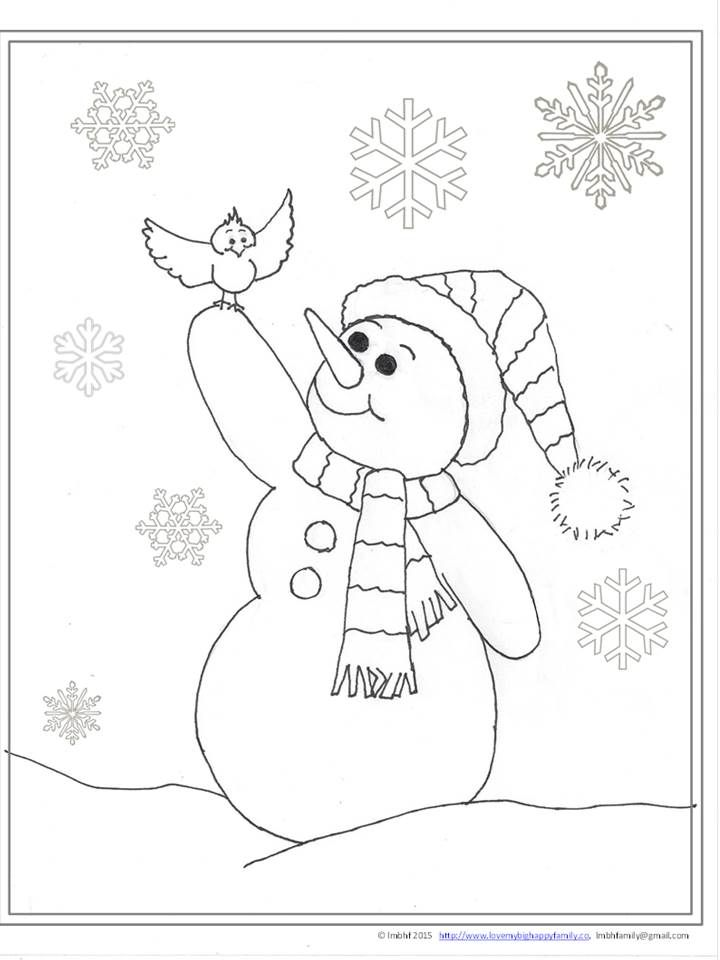 Cheerful Snowman Coloring Page