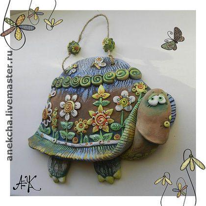 """Керамика, Панно """"Цветочная черепаха"""" - Керамика,глина,черепаха,сказка"""
