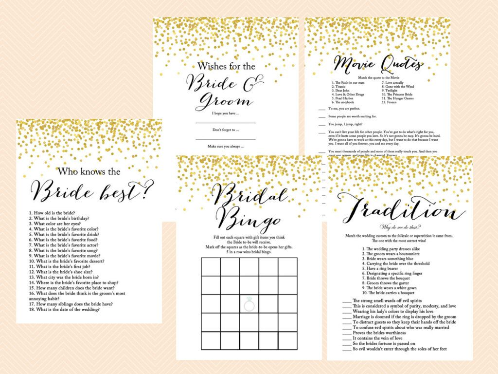 Gold Bridal Shower Game Set How Old Was Bride Who Knows