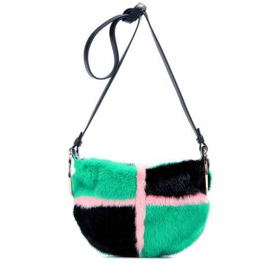 b38539ec44b9 Badia fur and leather crossbody bag