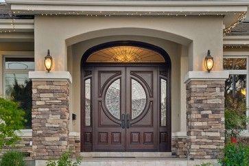 stacked stone home exterior & front door image | 22,502 front door entry way Home Design Photos