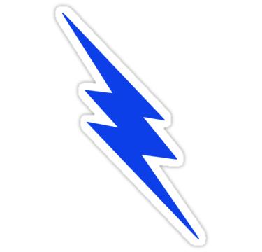 Blue Lightning Bolt Stickers By Spacealientees Redbubble Blue Lightning Lightning Bolt Lightning