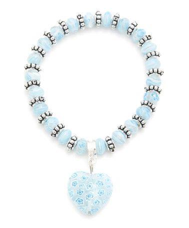 Another great find on #zulily! Vintage Silver & Blue Murano Glass Bead Stretch Bracelet #zulilyfinds